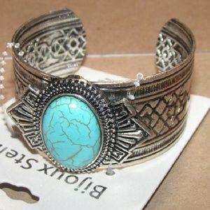 New Squash Blossom Turquoise Cuff Bracelet